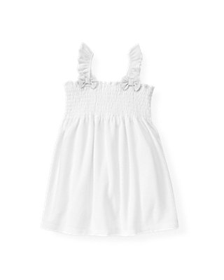Pure White Bow Smocked Swim Cover-Up at JanieandJack