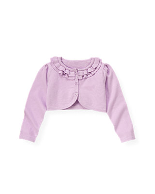 Purple Petunia Ruffle Crop Cardigan at JanieandJack