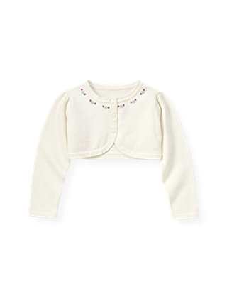 Pure White Hand-Embroidered Petunia Crop Cardigan at JanieandJack