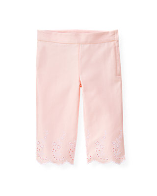 Pale Pink Eyelet Sateen Crop Pant at JanieandJack