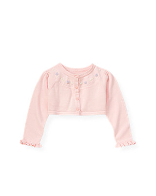 Pale Pink Hand-Embroidered Butterfly Crop Cardigan at JanieandJack