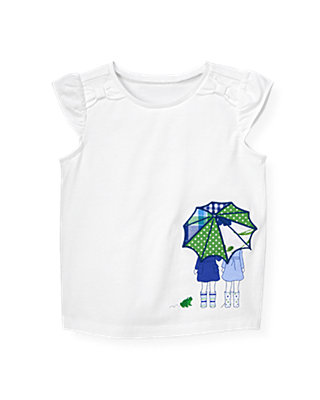 Pure White Umbrella Girls Top at JanieandJack