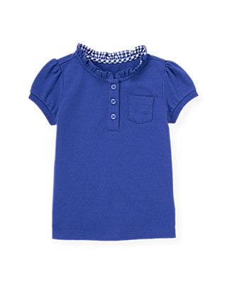 Bright Blue Ruffle Button Top at JanieandJack