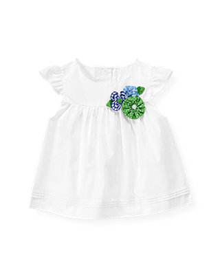 Pure White Flower Appliqué Top at JanieandJack