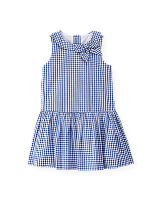 Bright Blue Check Bow Gingham Dress at JanieandJack