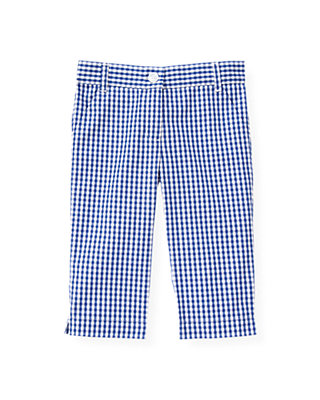 Bright Blue Check Gingham Crop Pant at JanieandJack