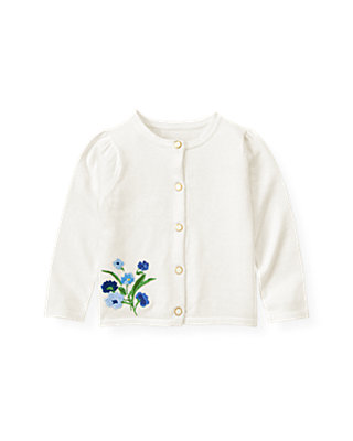 Pure White Hand-Embroidered Floral Cardigan at JanieandJack