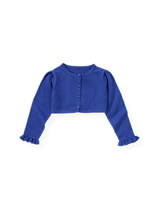 Bright Blue Ruffle Crop Cardigan at JanieandJack