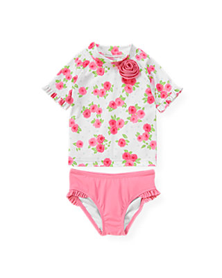 Bright Pink Rose Rosette Rash Guard Two-Piece Set at JanieandJack