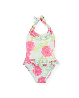 Bright Pink Rose Floral Rose Halter One-Piece Swimsuit at JanieandJack