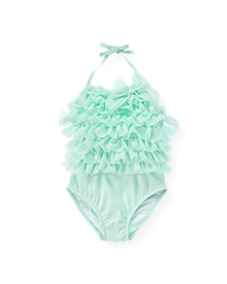 Blue Glass Tulle Tier Swimsuit at JanieandJack