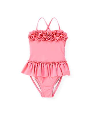 Candy Pink Rosette Skirted One-Piece Swimsuit at JanieandJack