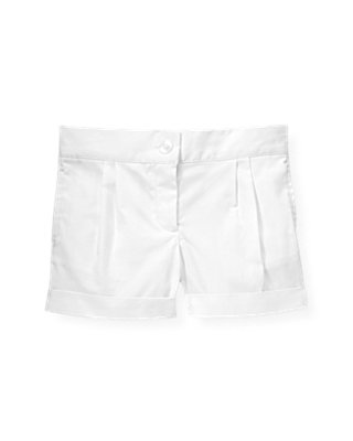Pure White Pleated Cuff Short at JanieandJack