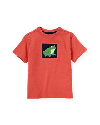 Boys Spring Orange Frog Appliqué Tee at JanieandJack