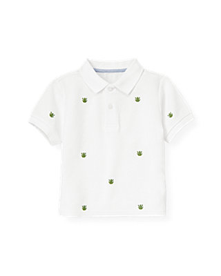 Boys Pure White Embroidered Frog Polo Shirt at JanieandJack