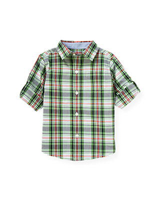 Frog Green Plaid Plaid Roll Cuff Shirt at JanieandJack