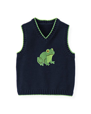 Spring Navy Frog Sweater Vest at JanieandJack