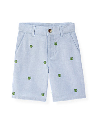 Boys Blue Oxford Embroidered Frog Oxford Short at JanieandJack