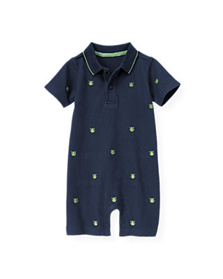 Boys Spring Navy Embroidered Frog Polo One-Piece at JanieandJack