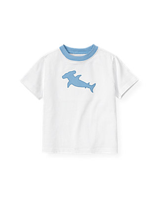 Boys Pure White Shark Tee at JanieandJack