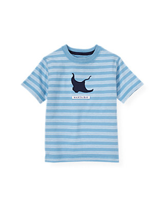 Boys Blue Kelp Stripe Manta Ray Stripe Tee at JanieandJack