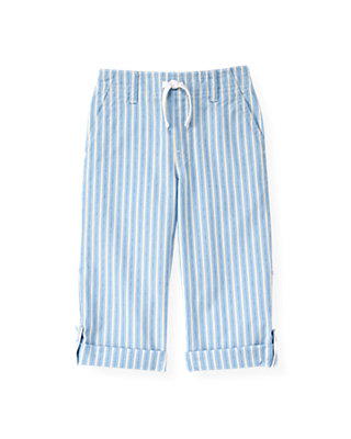 Boys Blue Kelp Ministripe Stripe Roll Cuff Pant at JanieandJack