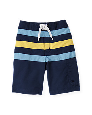 Ocean Navy Pieced Stripe Swim Trunk at JanieandJack