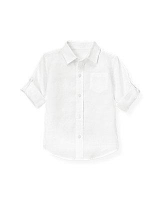 Pure White Linen Roll Cuff Shirt at JanieandJack