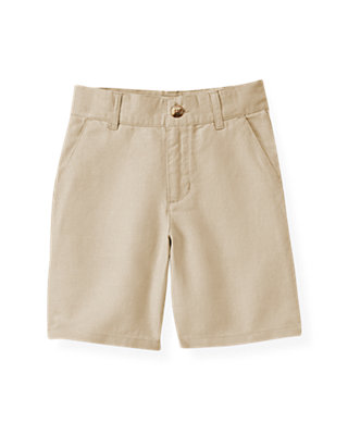 Boys Classic Khaki Khaki Linen Blend Short at JanieandJack