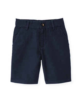 Boys Classic Navy Linen Blend Short at JanieandJack