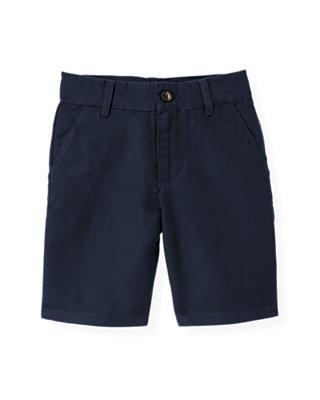 Boys Classic Navy Linen Blend Short at JanieandJack