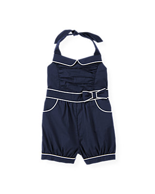 Classic Navy Piped Halter Romper at JanieandJack