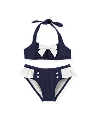 Classic Navy Bow Ruched Bikini at JanieandJack