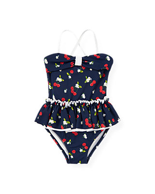 Classic Navy Cherry Skirted One-Piece Swimsuit at JanieandJack