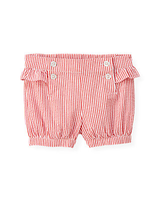 Cherry Red Stripe Ruffle Stripe Seersucker Short at JanieandJack