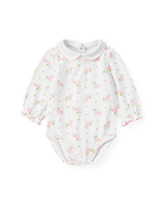 Baby Girl Barely Pink Floral Floral Collar Bodysuit at JanieandJack