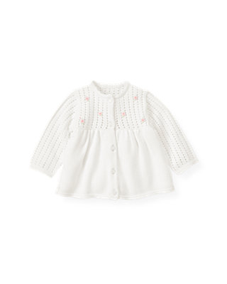 Baby Girl Pure White Hand-Embroidered Pointelle Cardigan at JanieandJack