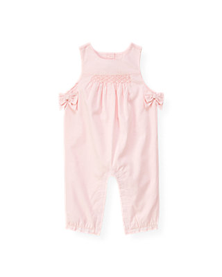 Baby Girl Barely Pink Hand-Smocked Dobby Overall at JanieandJack
