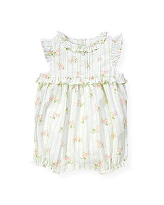 Baby Girl Pale Green Floral Wallpaper Stripe Floral Bubble at JanieandJack
