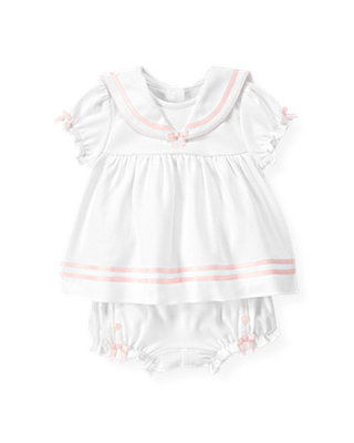 Baby Girl Pure White Sailor Two-Piece Ensemble at JanieandJack
