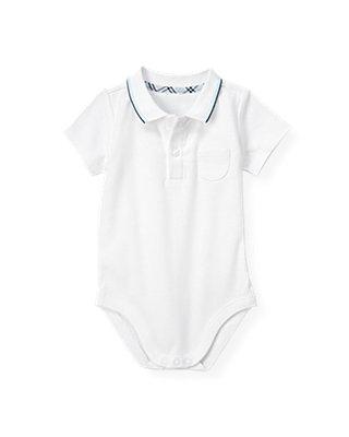 Baby Boy Pure White Polo Bodysuit at JanieandJack