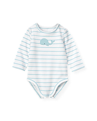 Baby Boy Feather Blue Stripe Whale Bodysuit at JanieandJack