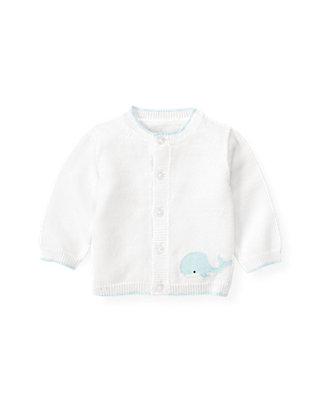 Baby Boy Pure White Whale Cardigan at JanieandJack