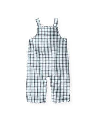 Baby Boy Feather Blue Check Checked Overall at JanieandJack