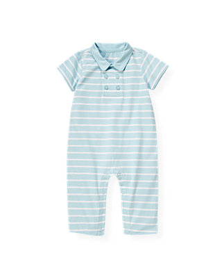 Baby Boy Feather Blue Stripe Polo Stripe One-Piece at JanieandJack