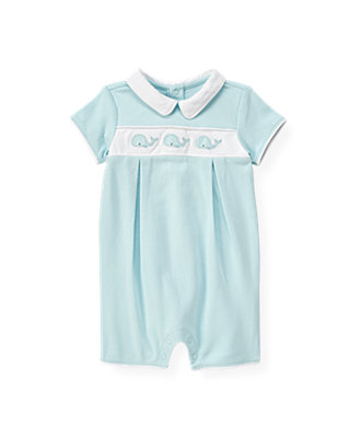 Baby Boy Feather Blue Whale Collared One-Piece at JanieandJack