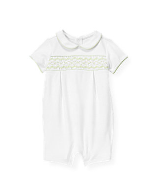 Baby Girl Pure White Hand-Smocked One-Piece at JanieandJack
