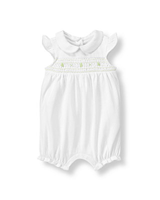 Baby Girl Pure White Hand-Smocked Bubble at JanieandJack