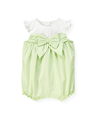 Baby Girl Pale Green Dot Bow Dot Bubble at JanieandJack