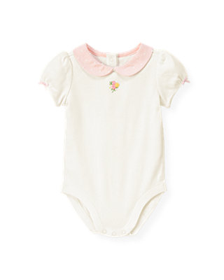 Baby Girl Jet Ivory Hand-Embroidered Rose Bodysuit at JanieandJack